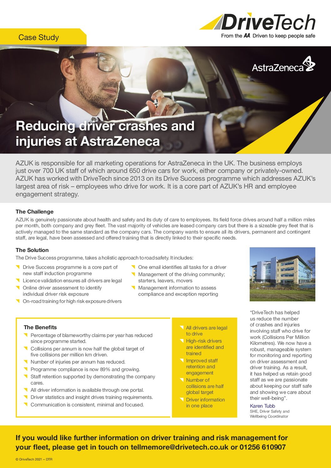 Reducing driver crashes and injuries at AstraZeneca