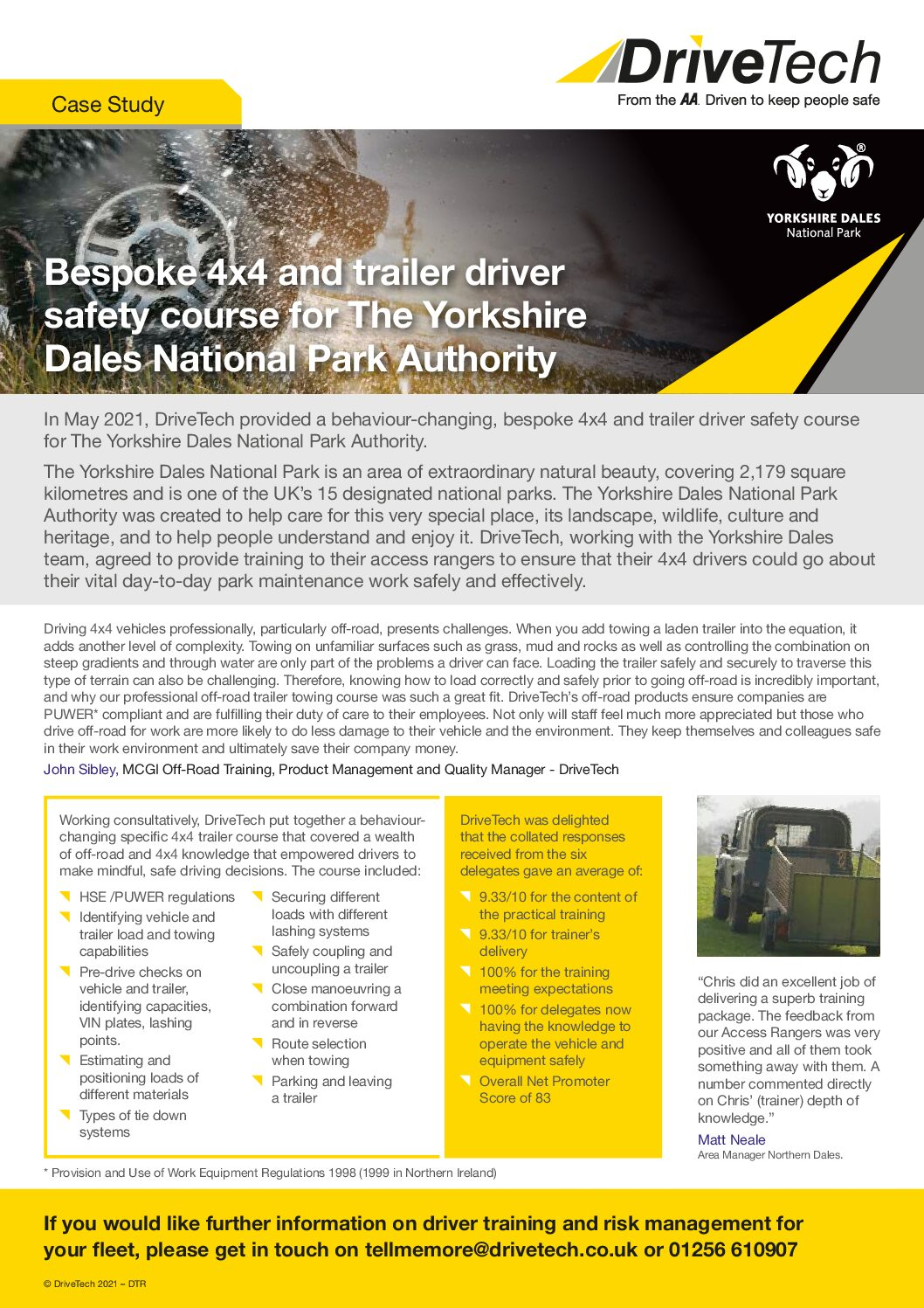 Bespoke 4×4 and trailer driver safety course for Yorkshire Dales National Park Authority