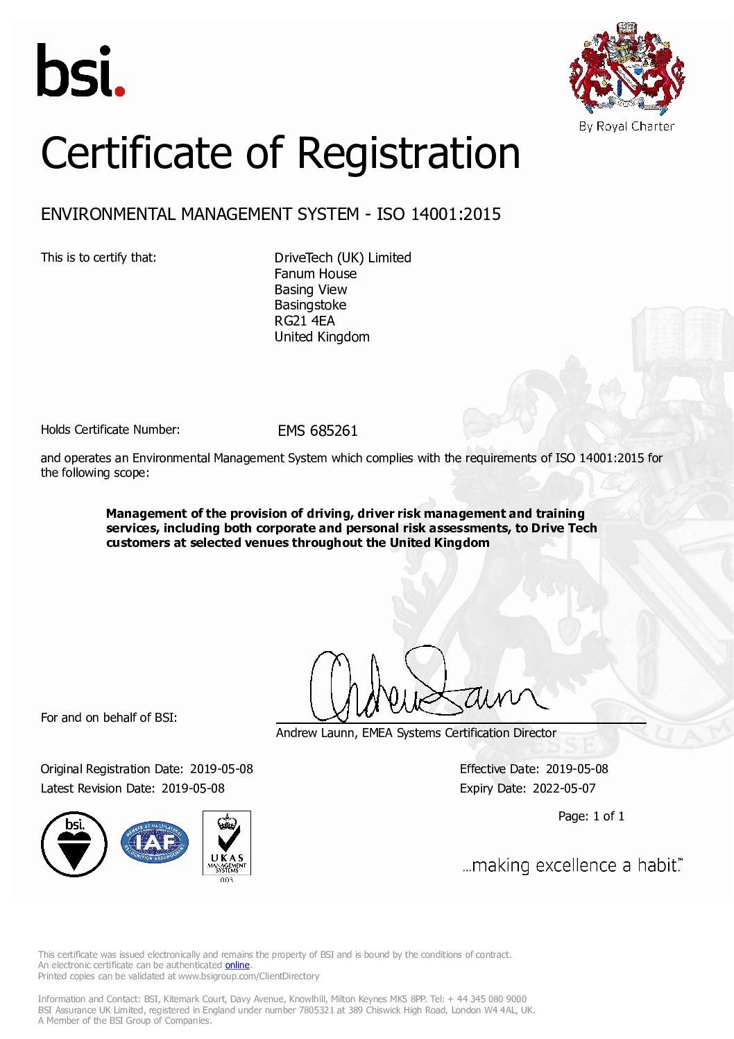 BSI ISO 14001 Certificate