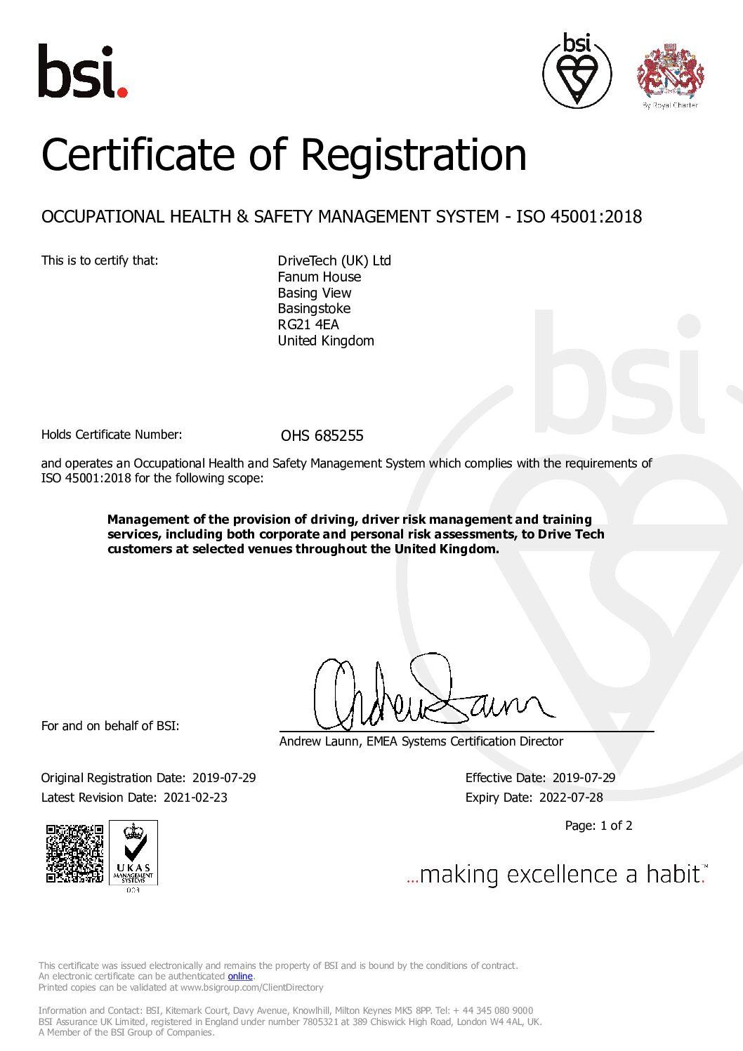 BSI ISO 45001 Certificate
